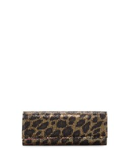 Sequined Leopard Print Clutch Bag, Gold