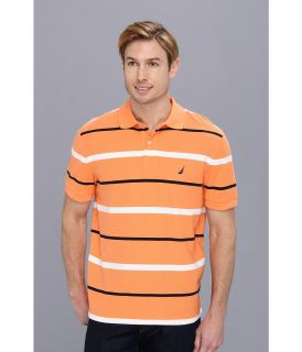 Nautica S/S Striped Deck Polo Shirt Mens Short Sleeve Pullover (Orange)
