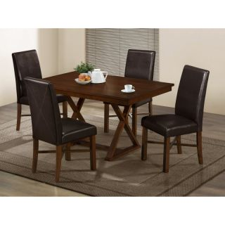 Monarch Modern Oak & Brown Faux Leather Dining Chairs   Set of 2   I 1818
