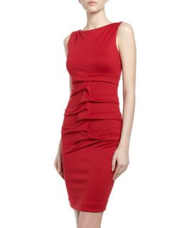 Lauren Tidal Pleated Ponte Sheath Dress, Scarlet