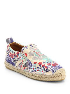Marc by Marc Jacobs Floral Print Leather Espadrille Flats   Cream