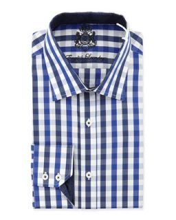Classic Fit Large Check Dress Shirt, Navy