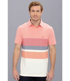Nautica Engineered Stripe Performance Polo Shirt Mens Short Sleeve Pullover (Pink)