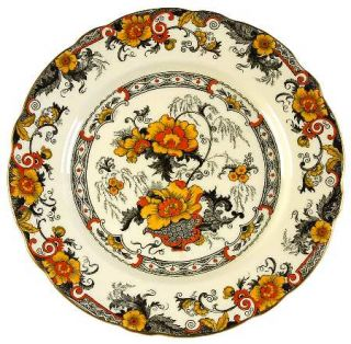 Royal Cauldon Bentick Salad Plate, Fine China Dinnerware   Black Bands,Yellow/Or