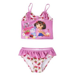 Dora the Explorer Toddler Girls 2 Piece Tankini Swimsuit Set   Pink 4T