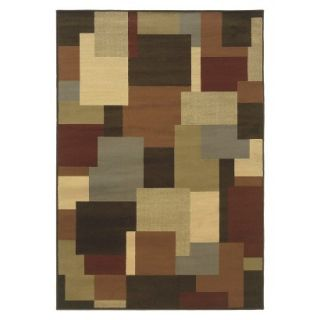 Contemporary Squares Area Rug   Brown (710x10)