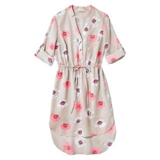 Merona Womens Drawstring Shirt Dress   Pink Floral   M
