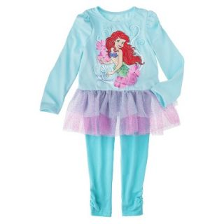 Disney Infant Toddler Girls 2 Piece Ariel Set   Aqua 18 M
