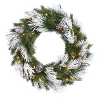 Pre Lit Flocked Mix Wreath   Clear Lights (30)