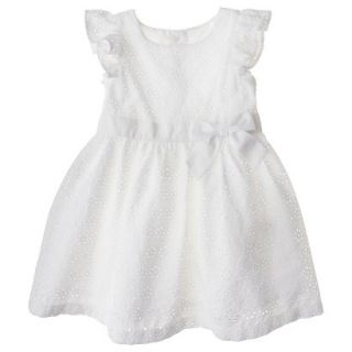 Cherokee Infant Toddler Girls Eyelet Flutter Sleeve Dress   White 18 M