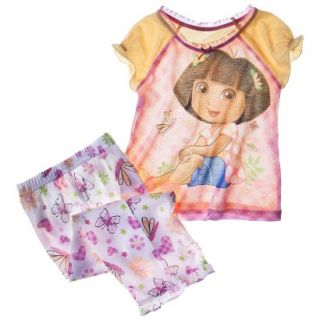 Dora the Explorer Toddler Girls 2 Piece Short Sleeve Pajama Set   Yellow 4T