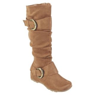 Womens Bamboo By Journee Slouchy Buckle Boots   Camel 8W