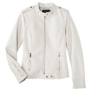 Mossimo Womens Faux Leather Jacket  White XXL