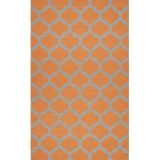 Fretwork Flat Weave Area Rug   Pumpkin (5x8)