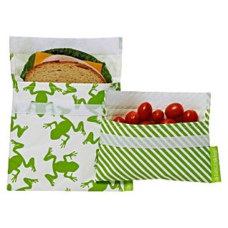 LunchSkins Reusable Sandwich and Reusable Snack Bag   Green Frog