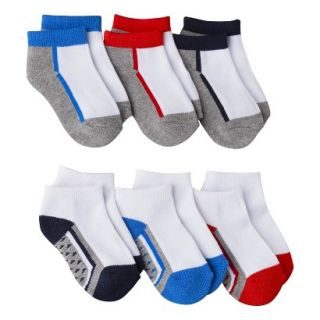 Circo Infant Toddler Boys 6 Pack Assorted Ankle Socks   Red 6 12