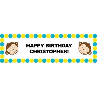 Mod Monkey Personalized Birthday Banner