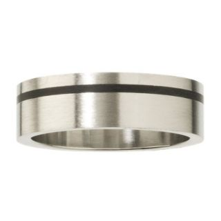 Mens Stainless Steel Ring with Black Accent Line   10