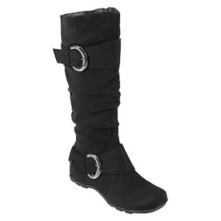 Womens Bamboo By Journee Slouchy Buckle Boots   Black 9.5W