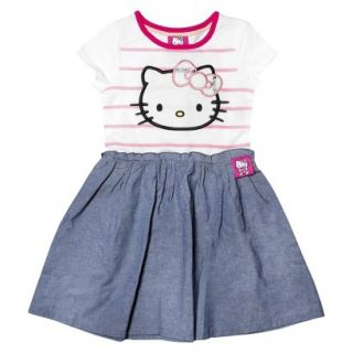 Hello Kitty Infant Toddler Girls Short Sleeve Tunic Dress   White/Chambray 4T