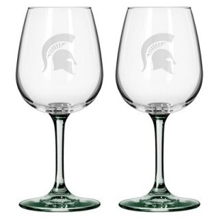 Boelter Brands NCAA 2 Pack Michigan state Spartans Satin Etch Wine Glass   12 oz