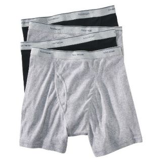 Fruit of the Loom Mens Boxer Briefs 4 Pack   Black/Grey S