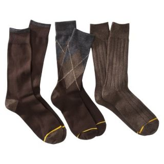 Auro a GoldToe Brand Mens 3PK Argyle Socks   Brown 6 12