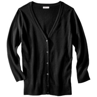 Merona Womens Ultimate 3/4 Sleeve Crew Neck Cardigan   Black   XL