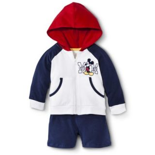Disney Newborn Boys 2 Piece Mickey Mouse Set   White/Blue/Red 6 9 M