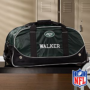 Personalized New York Jets Rolling Duffel Bags