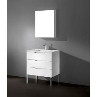 Madeli Milano 30 Bathroom Vanity with Quartzstone Top   Glossy White