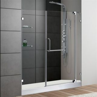 VIGO 60 inch Frameless Shower Door 3/8 Clear Glass Chrome Hardware with White B