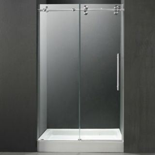 VIGO 48 inch Frameless Shower Door 3/8 Clear/Chrome Hardware with White Base