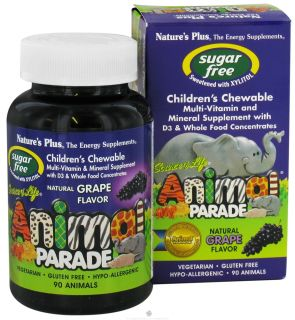 Natures Plus   Source Of Life Animal Parade Childrens Multi Vitamin and Mineral Natural Grape Flavor   90 Chewable Tablets