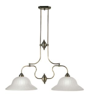 Countryside 2 Light Island Lights in Antique Brass 4282 01