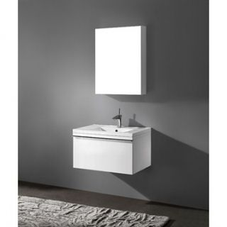 Madeli Venasca 30 Bathroom Vanity with Integrated Basin   Glossy White
