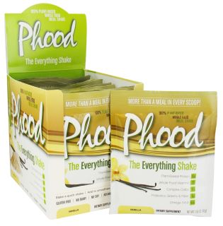 PlantFusion   Phood 100% Plant Based Whole Food Meal Shake Vanilla   12 x 1.59 oz. Packets