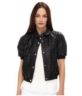 Versace Jeans Eyelet Cropped Leather Jacket Womens Jacket (Black)