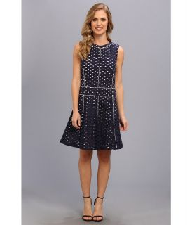 Anne Klein Cotton Eyelet Drop Waist Dress Womens Dress (Navy)