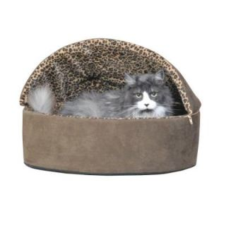 K&H Pet Products Thermo Kitty Deluxe Small Mocha Leopard Hooded Heated Cat Bed 3196