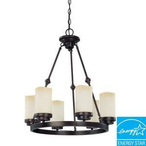 Glomar Lucern Collection 6 Light Hanging Patina Bronze Chandelier DISCONTINUED HD 3845