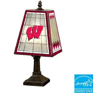 The Memory Company NCAA 14 in. Wisconsin Badgers Art Glass Table Lamp DISCONTINUED COL WIS 462