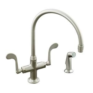 KOHLER Essex 1 Hole 2 Handle Kitchen Faucet in Vibrant Brushed Nickel K 8763 BN