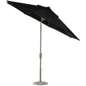 Home Decorators Collection 9 ft. Auto Tilt Patio Umbrella in Black Sunbrella with Champagne Frame 1548920210