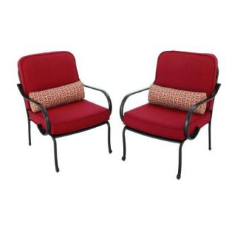 Hampton Bay Fall River Patio Lounge Chair with Dragon Fruit Cushion (2 Pack) DY11034 L R