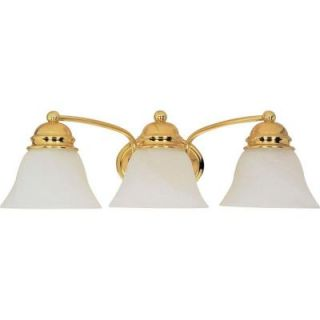 Glomar Empire 3 Light Polished Brass Vanity with Alabaster Glass Bell Shades HD 350