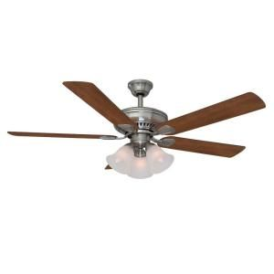Hampton Bay Campbell 52 in. Brushed Nickel Ceiling Fan with Remote 51359