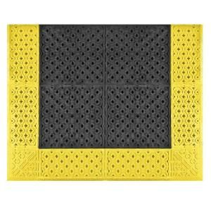 NoTrax No Trax Cushion Lok Black with Yellow Border 30 in. x 60in. PVC Anti Fatigue/Safety Mat 520