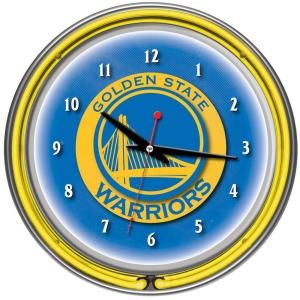Trademark Global 14 in. Detroit Pistons NBA Chrome Double Ring Neon Wall Clock NBA1400 DP