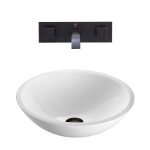 Vigo Flat Edged Stone Glass Vessel Sink in White Phoenix and Wall Mount Faucet Set in Antique Rubbed Bronze VGT229